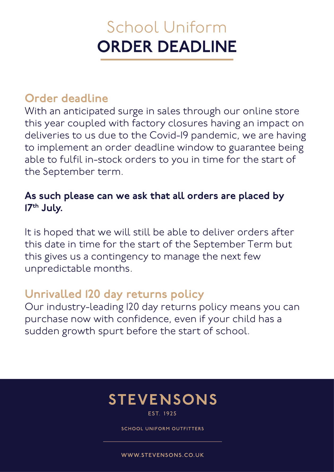 Stevensons School Uniform  Order Deadline (3) 1